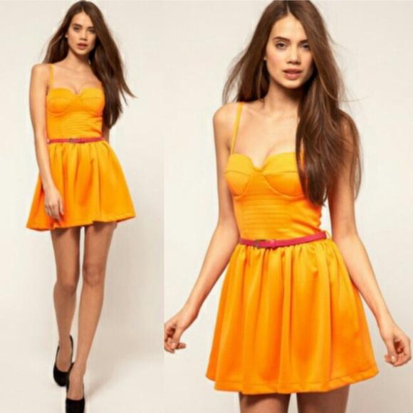 cb7c344ab ASOS Dresses | Rare Neon Scuba Corset Dress With Neon Belt | Poshmark